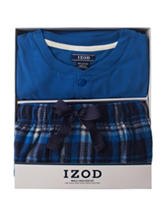 Izod 2-pc. Blue T-shirt & Plaid Print Pants Pajamas