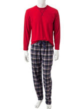 Izod 2-pc. Red T-shirt & Plaid Print Pants Pajamas