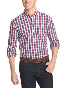 Izod Dark Red Casual Button Down Shirts