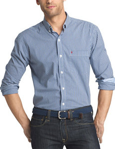 Izod Medium Blue Casual Button Down Shirts