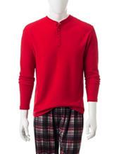 Izod Red Waffle Knit Henley T-shirt