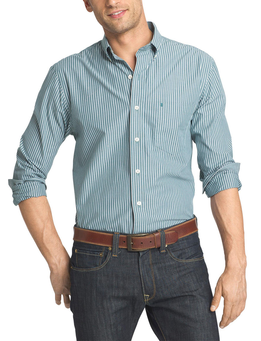 Izod Teal Casual Button Down Shirts