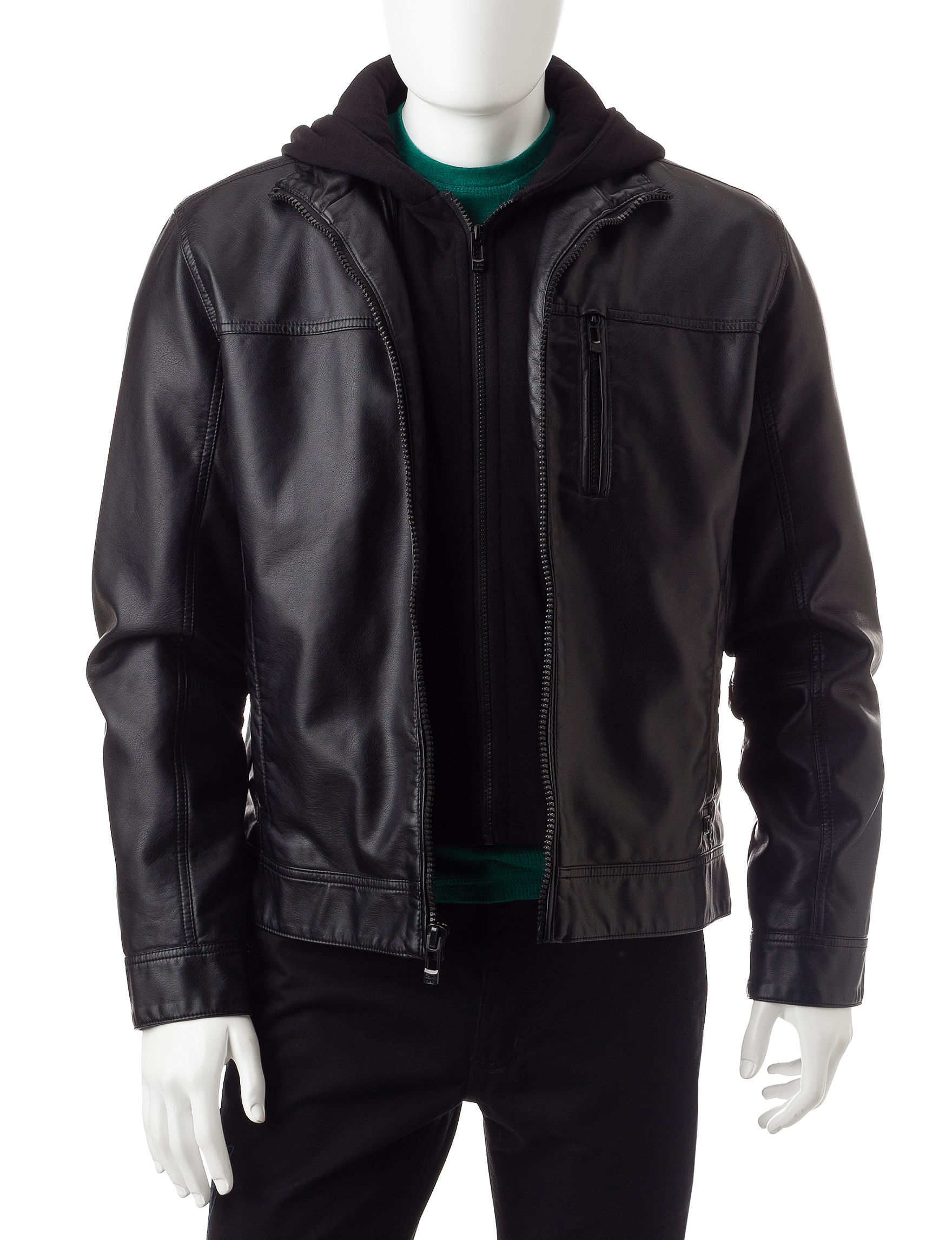Calvin Klein Hooded Faux Leather Jacket (Black or Brown)