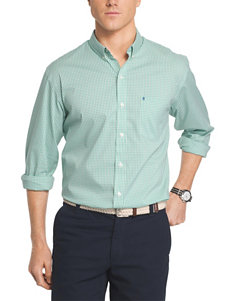 Izod Green Casual Button Down Shirts