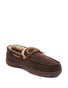 Chaps Faux Suede Mocassin Slippers