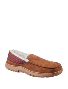 Chaps Faux Suede Loafer Slippers