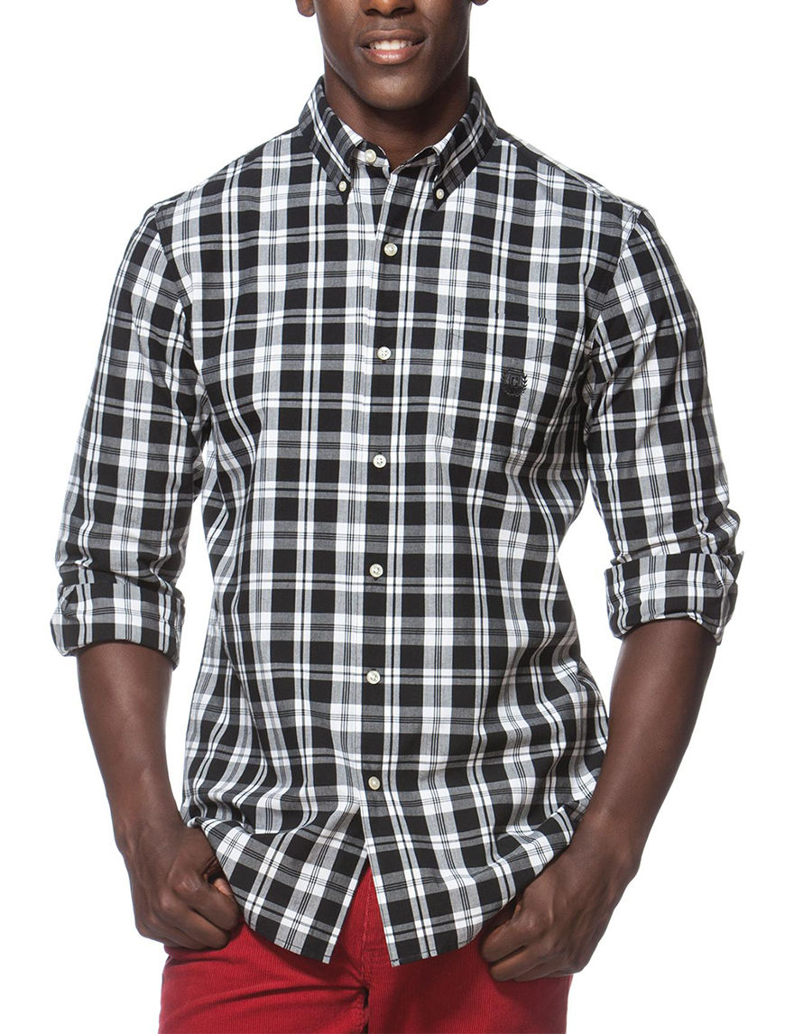 Chaps Black Casual Button Down Shirts