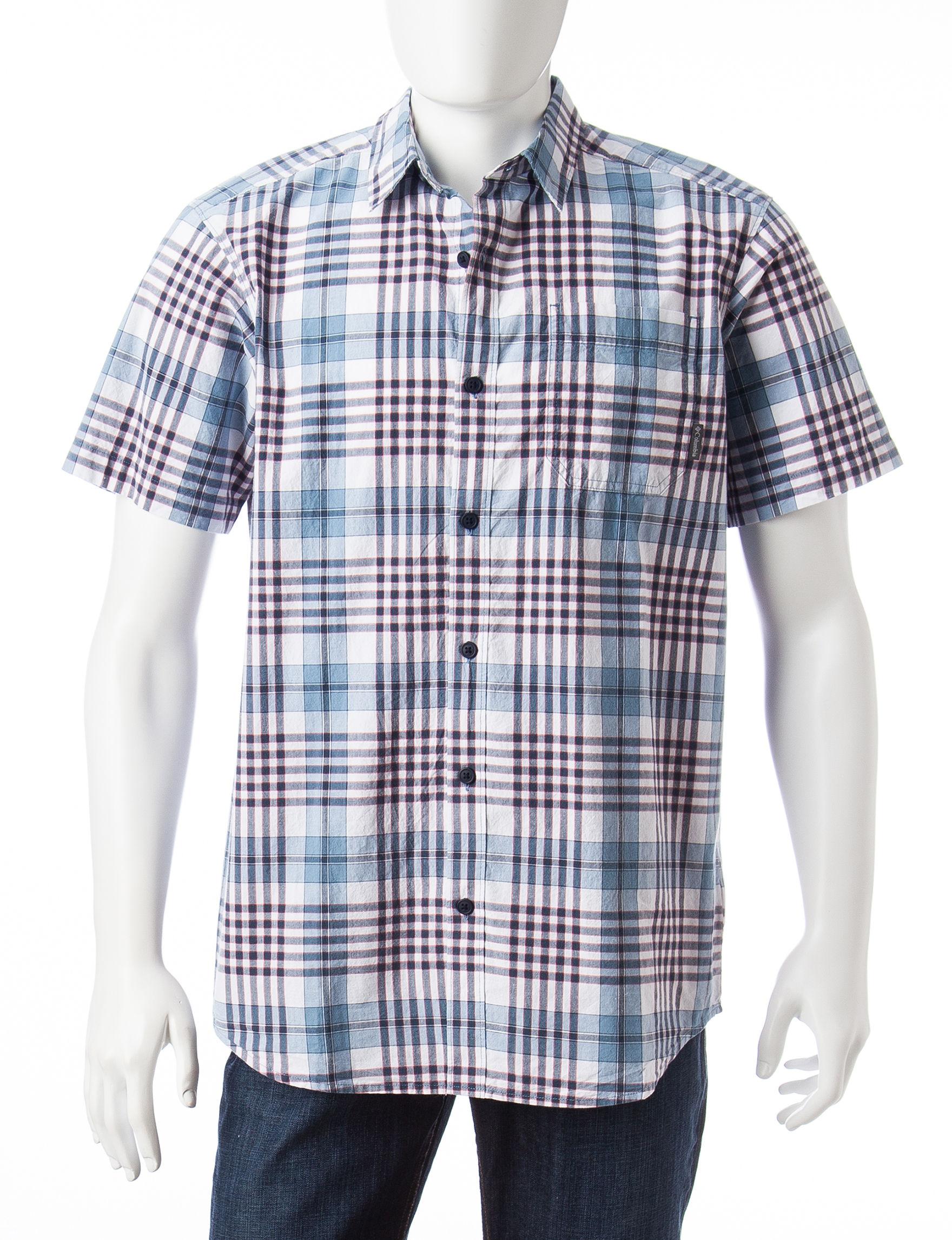 Columbia Blue Casual Button Down Shirts