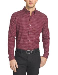 Van Heusen Light Red Casual Button Down Shirts