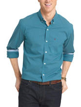 Izod Gingham Plaid Print Woven Shirt