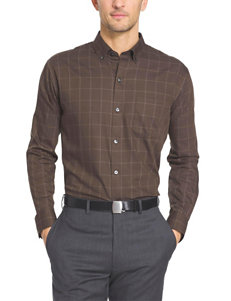Van Heusen Brown Casual Button Down Shirts