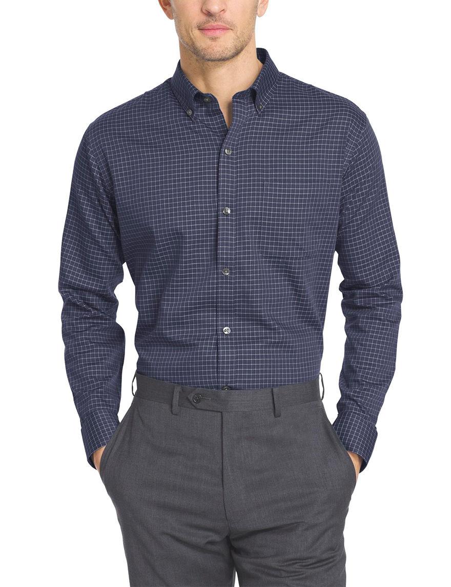 Van heusen plaid print woven shirt stage stores for Van heusen plaid shirts