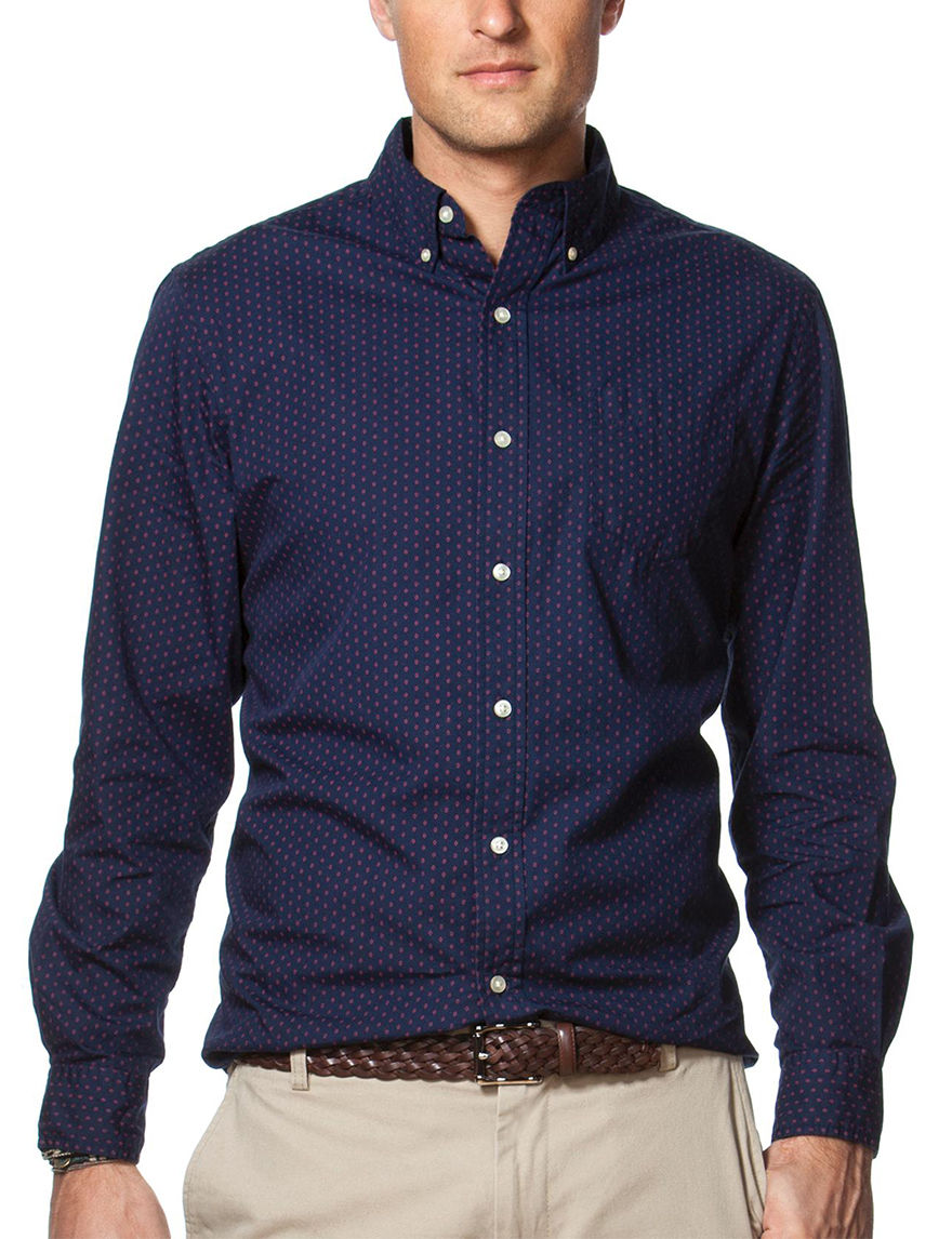 Chaps Navy Casual Button Down Shirts