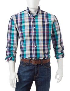 Sun River Navy Blue Casual Button Down Shirts