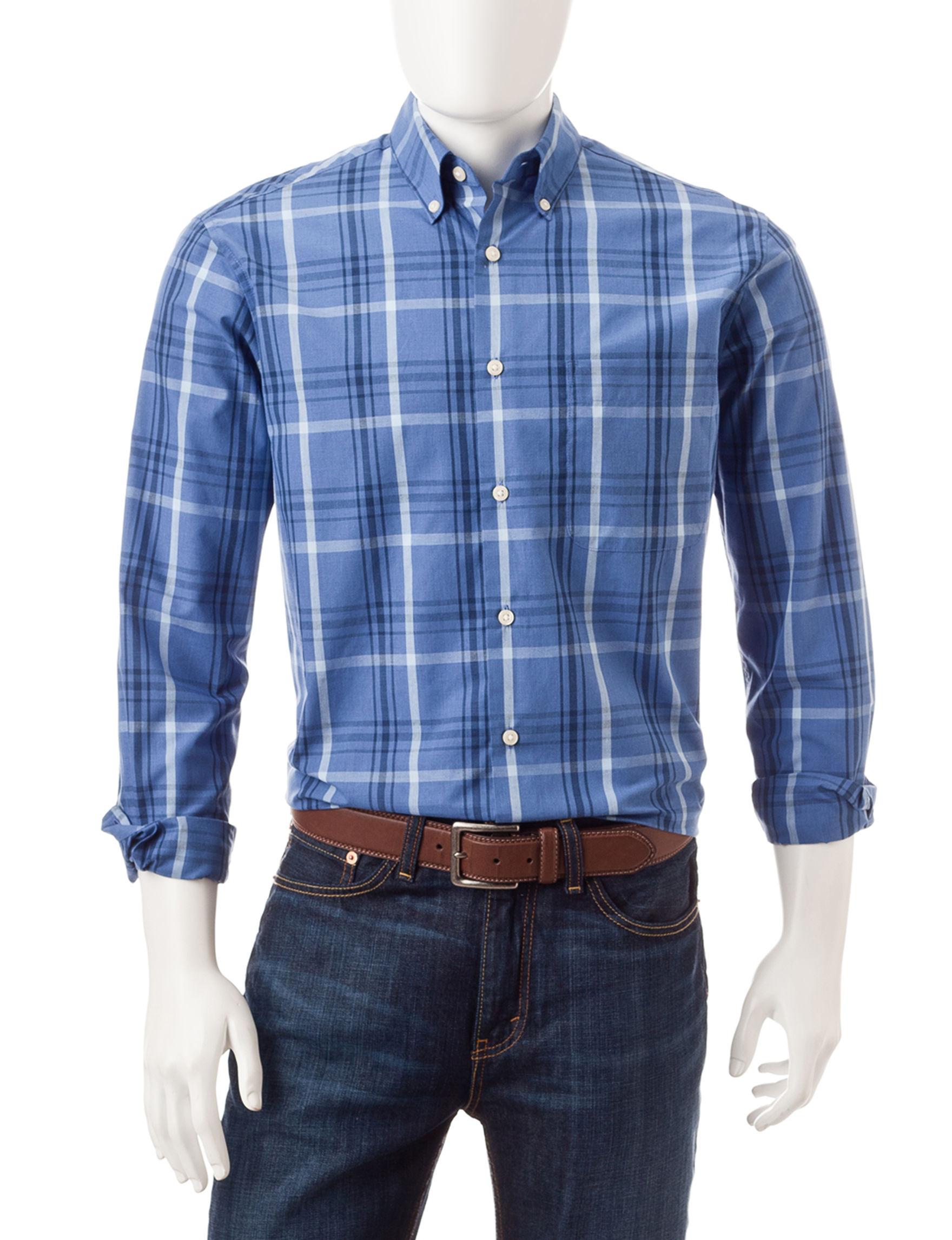 Sun River Blue Casual Button Down Shirts