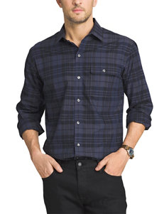 Van Heusen Blue Black Iris Casual Button Down Shirts