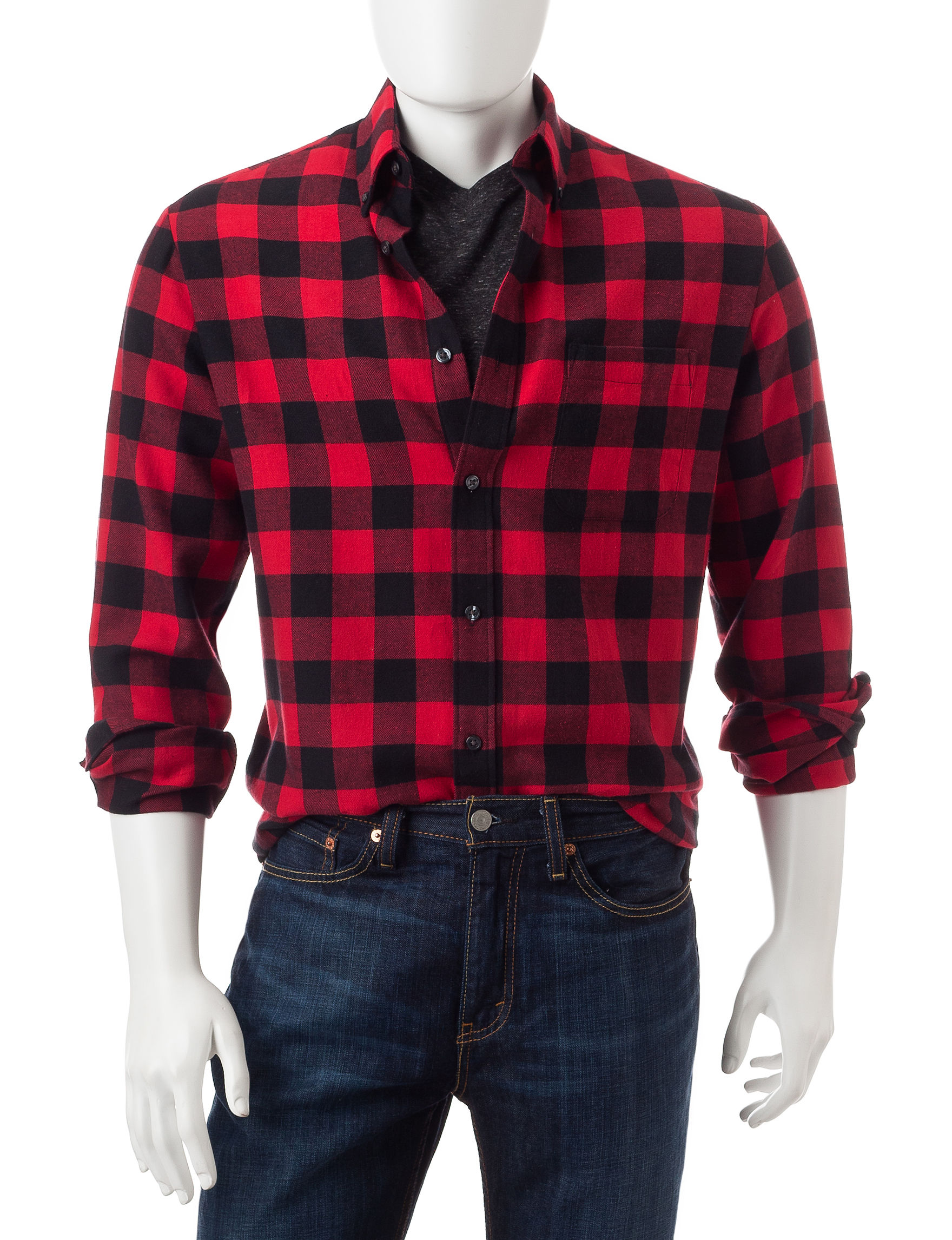 Sun River Red Casual Button Down Shirts