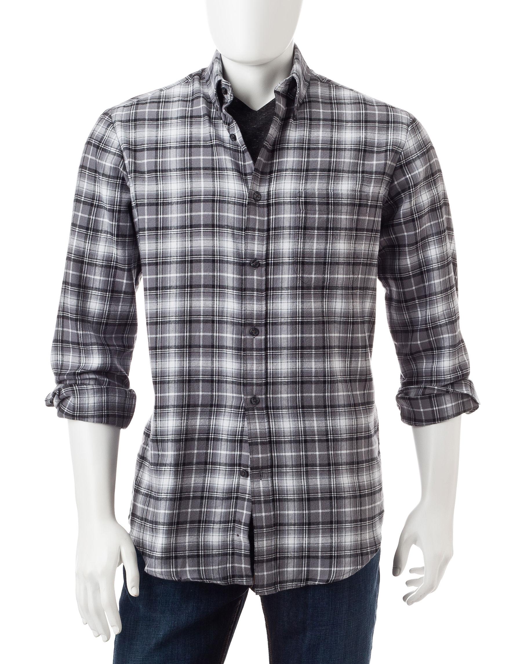 Sun River Black White Plaid Print Flannel Shirt Stage