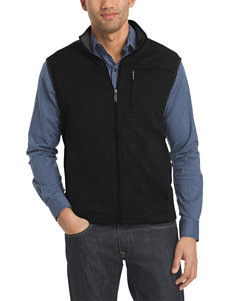 Van Heusen Black Vests Zip-Ups