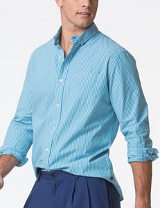 Chaps Harbor Blue Striped Poplin Woven Shirt