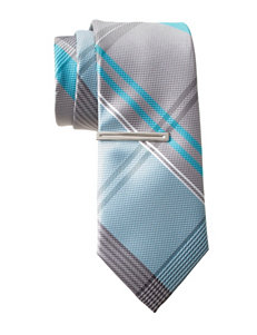 Van Heusen Oxford Aqua Plaid Tie