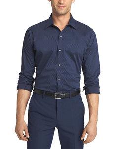 Van Heusen Blue Black Iris Casual Button Down Shirts