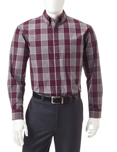 Haggar Grey Casual Button Down Shirts