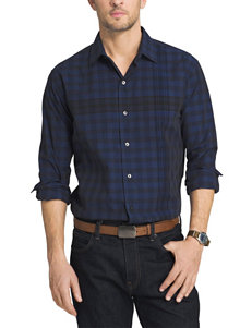 Van Heusen Mazarine Blue Casual Button Down Shirts