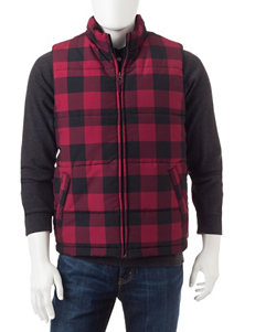 Weatherproof Buffalo Check Print Zip Vest