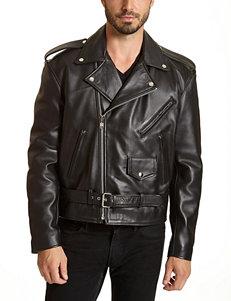 Excelled Big & Tall Black Genuine Leather Biker Jacket