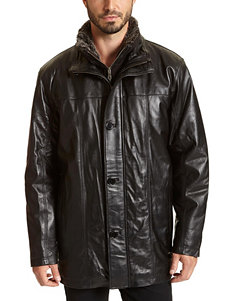 Excelled Big & Tall Black Genuine Leather Car Coat