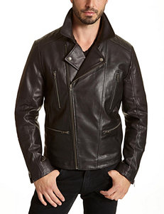 Excelled Big & Tall Black Genuine Leather Moto Jacket