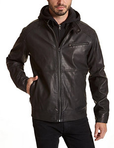 Excelled Big & Tall Faux Leather Hooded Jacket