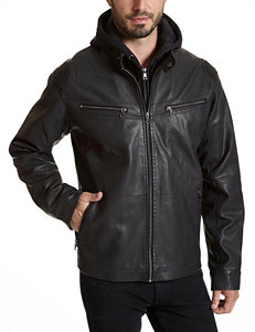 Excelled Black Faux Leather Hooded Jacket