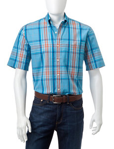 Sun River Bright Blue Casual Button Down Shirts