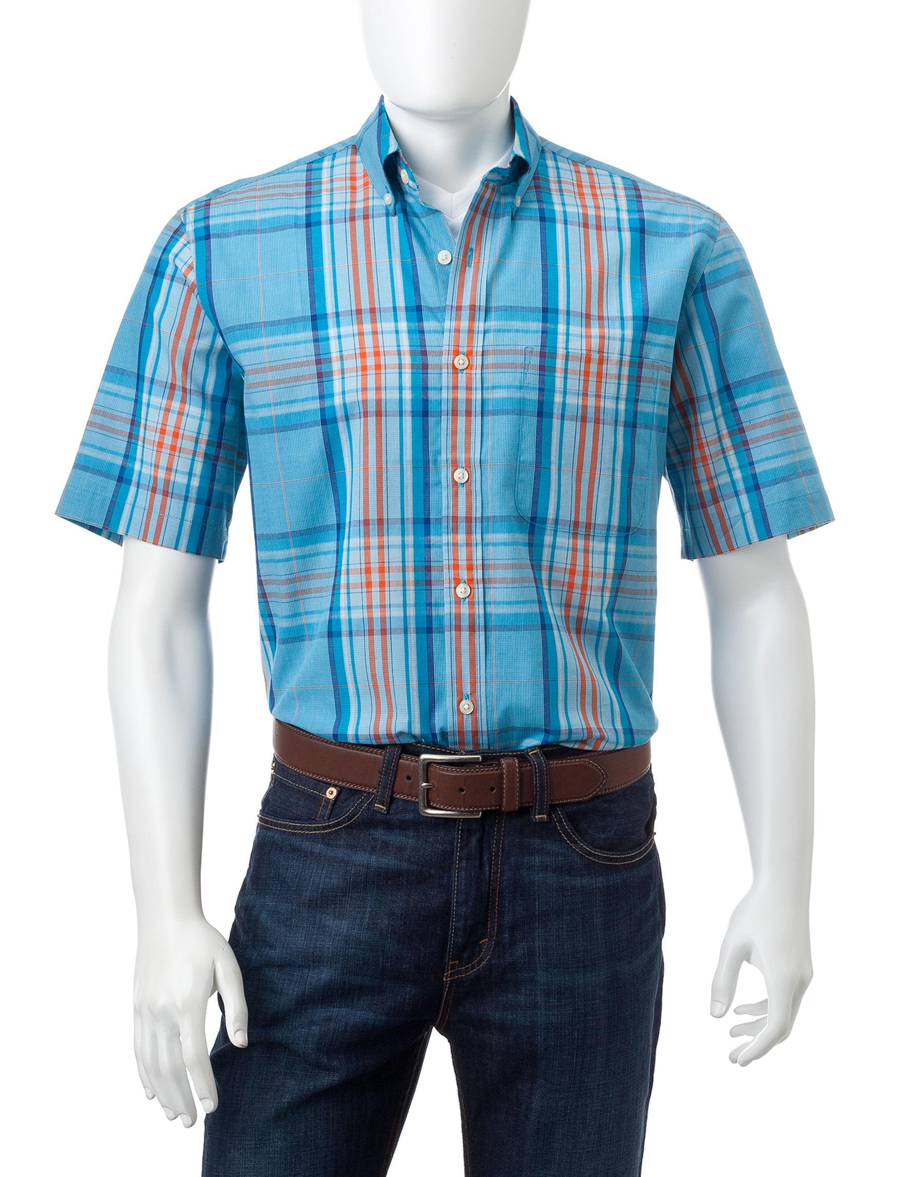Sun River Bright Blue Casual Button Down Shirts