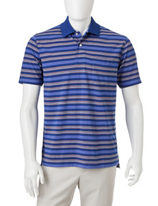 Sun River Striped Print Polo Shirt