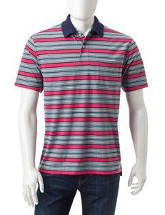 Sun River Red Block Stripe Polo Shirt