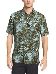 Van Heusen Dark Green Casual Button Down Shirts