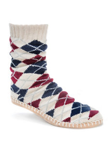 Muk Luks Argyle Knit Slipper Socks