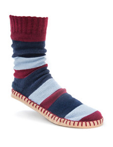 Muk Luks Navy & Red Striped Knit Slipper Socks