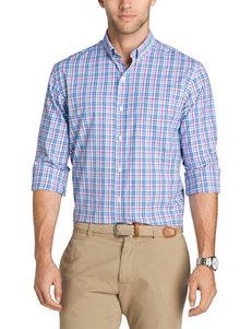 Izod Powder Blue Casual Button Down Shirts