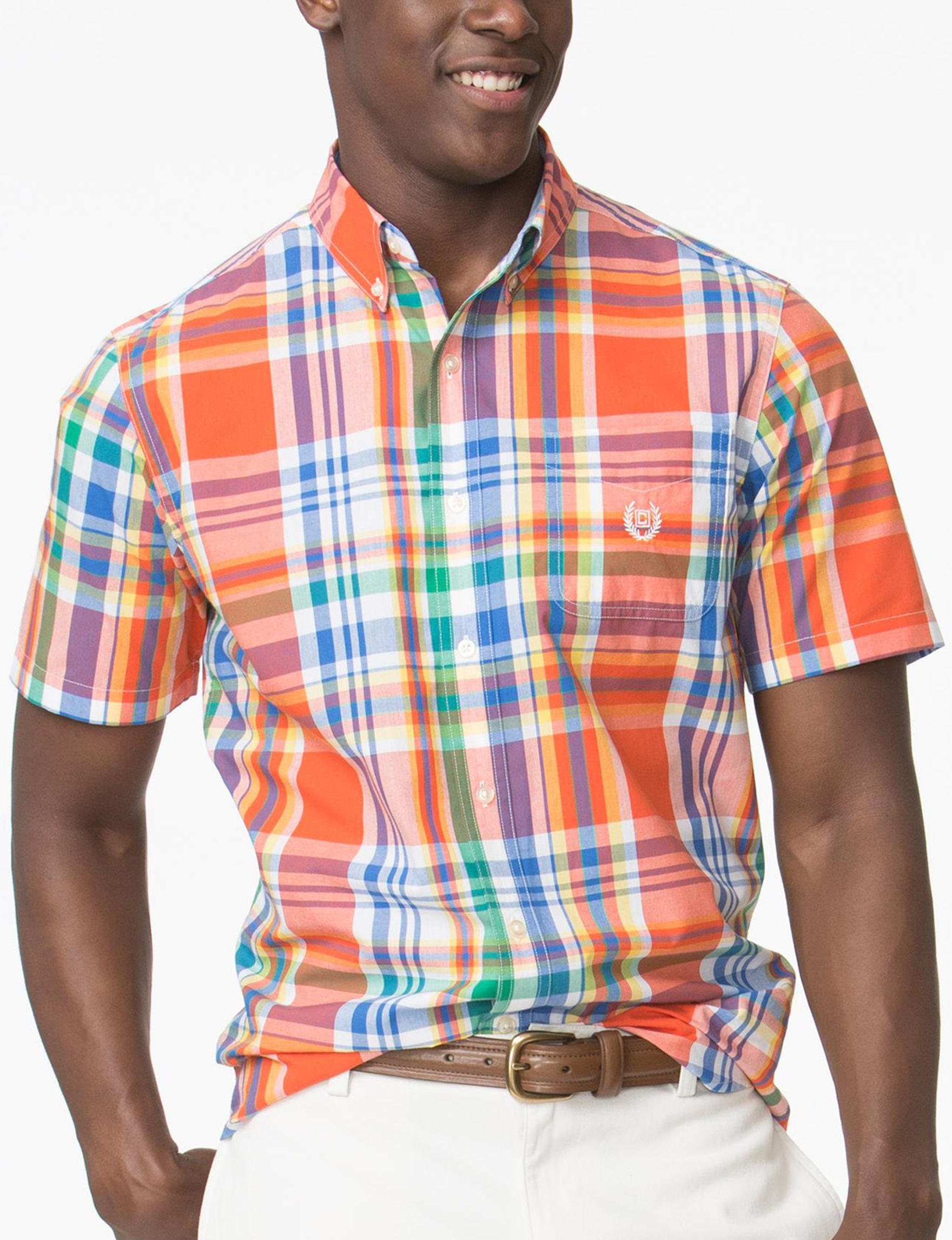 Chaps Orange Casual Button Down Shirts