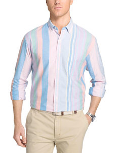 Izod Medium Pink Casual Button Down Shirts
