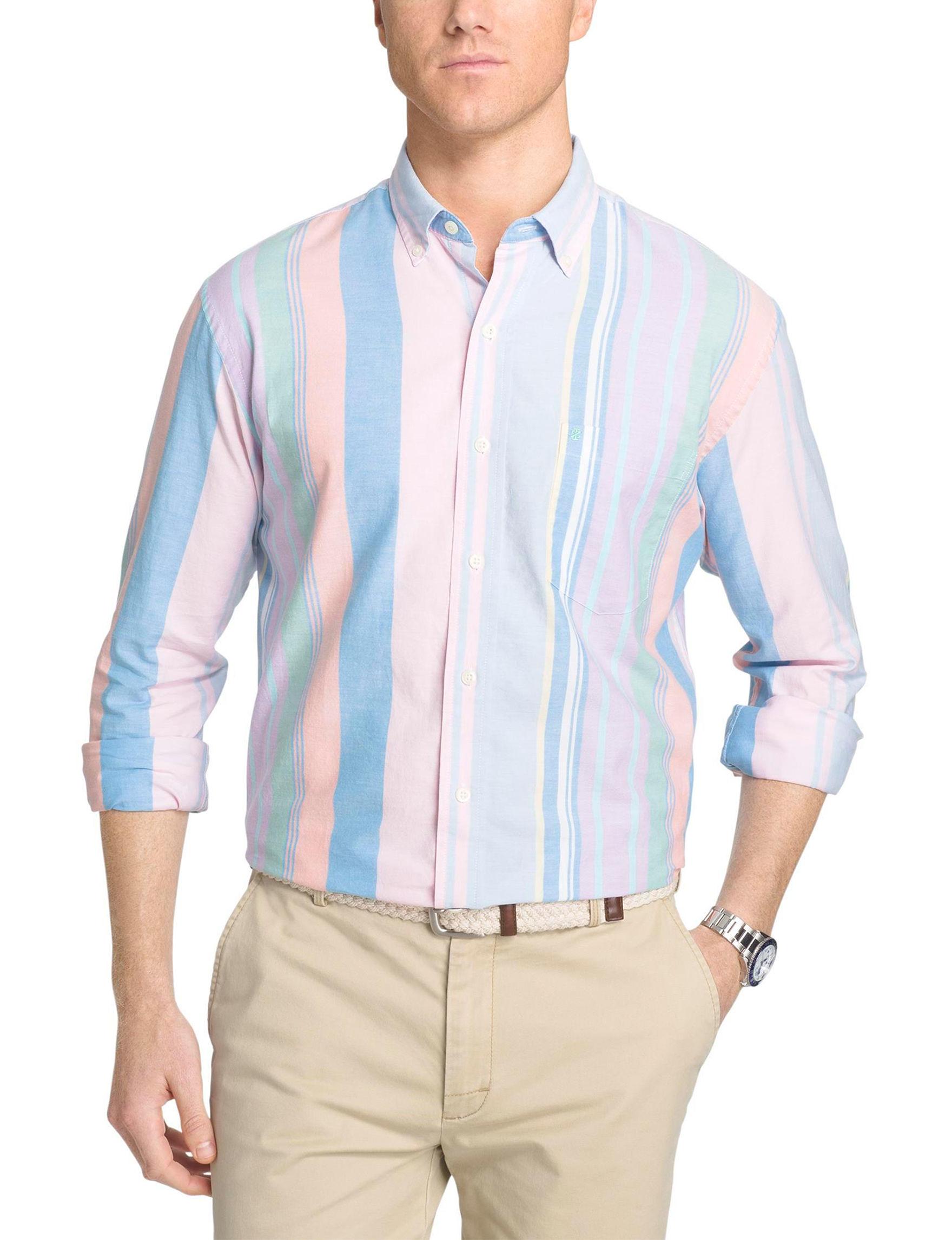 Izod Medium Pink Casual Button Down Shirts