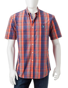 U.S. Polo Assn. Orange Casual Button Down Shirts