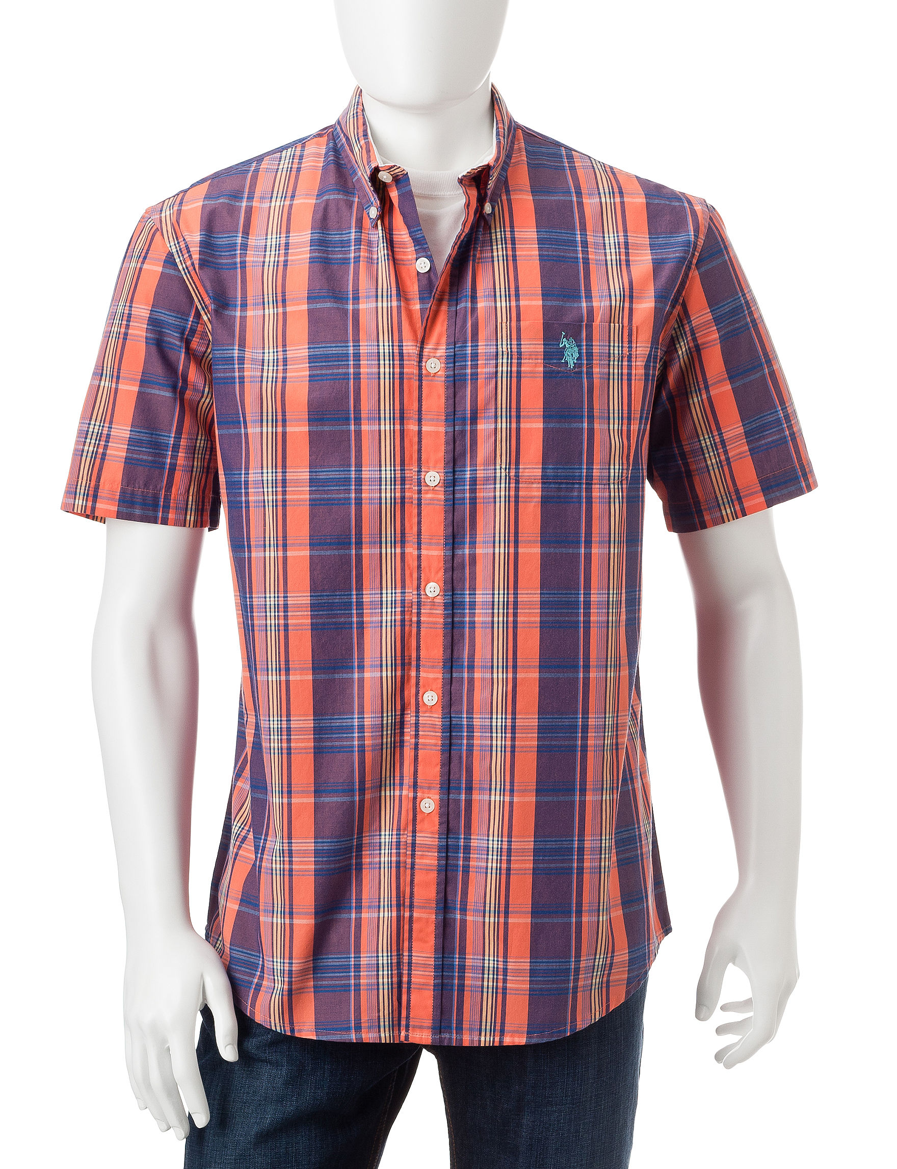 U.S. Polo Assn. Orange Casual Button Down Shirts