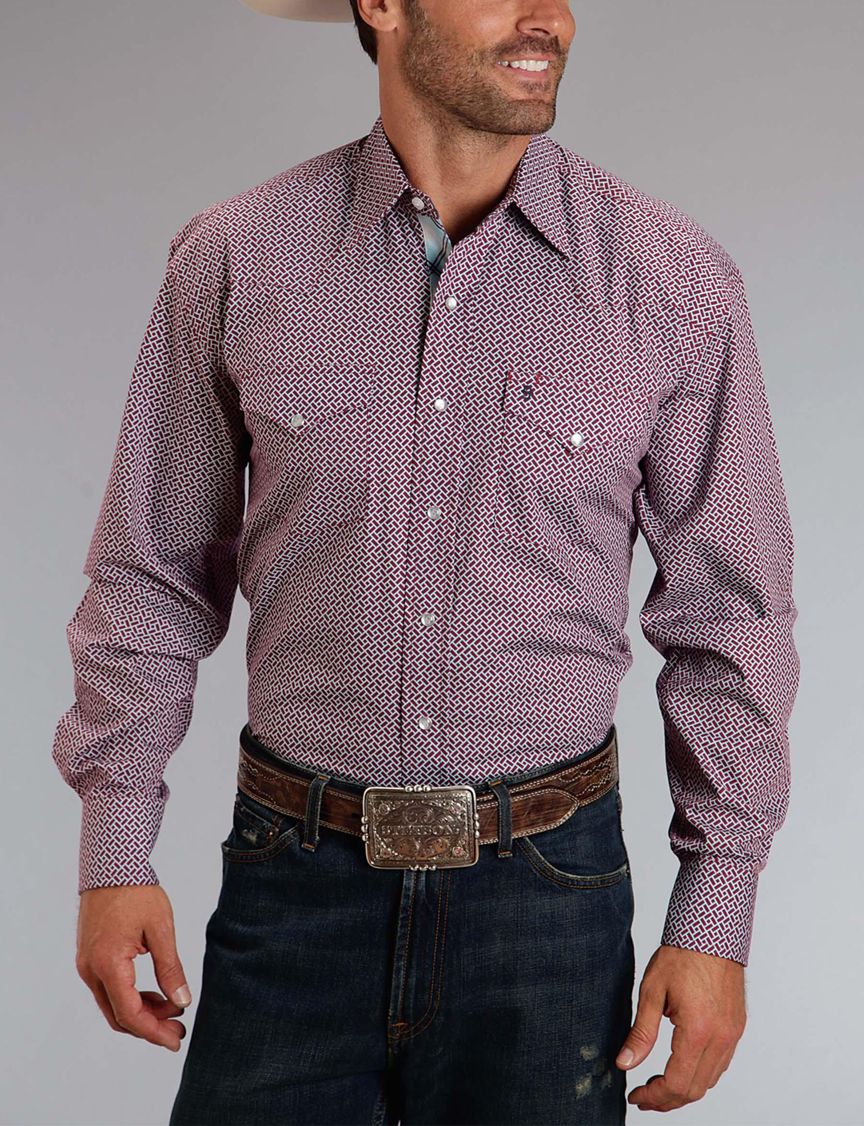 Stetson Dark Red Casual Button Down Shirts