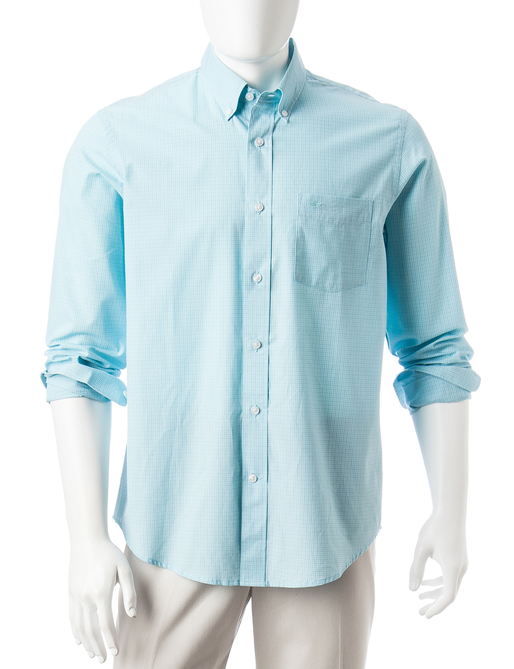 Dockers Stream Blue Casual Button Down Shirts