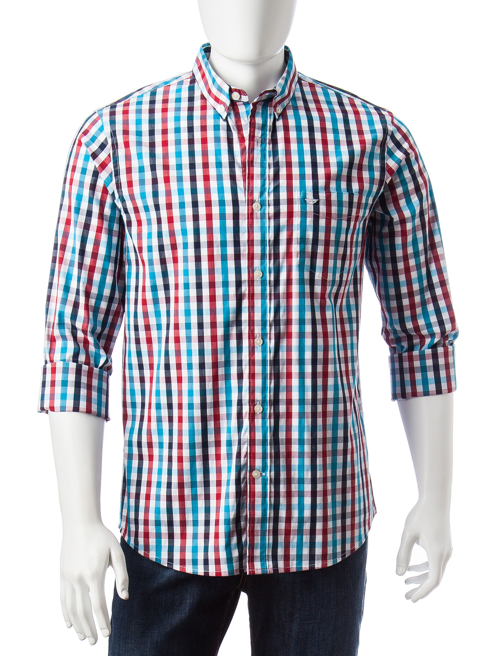 Dockers Red Casual Button Down Shirts